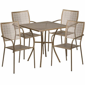 Flash Furniture 28 Gold Steel Patio Table Set With 4 Square Back Chairs