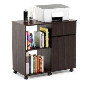 Wooden Mobile Printer Stand Drawers With Storage Office Cabinet Furniture Brown