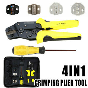 4in1 Cable Connectors Terminal Ratchet Crimping Wire Crimper Plier Tool Kit Bag