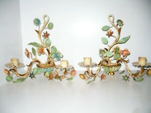 Vintage Italian Tole Pair Candle Wall Sconces Floral Painted Candleholders Metal