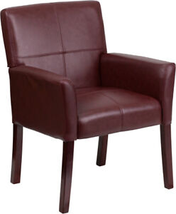 Flash Furniture Burgundy Leather Executive Side Chair With Mahogany Legs