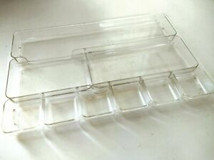 Vtg Rogers Desk Tray Drawer Organizer Clear Plastic 9 section Home School Office