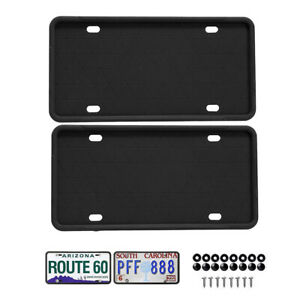2pcs Silicone License Plate Holder Frame Cover Screw Caps Car Protector Black Us