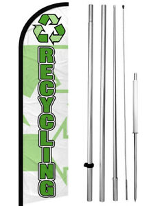 Recycling Windless Swooper Feather Flag 15 Tall Pole Kit Wf h