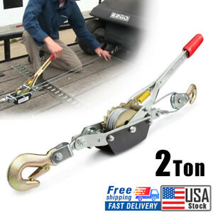 2 Ton 4000lbs Power Puller Hand Winch Steel Cable Come Along Tighter W 2 Hooks
