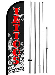 Tattoo Windless Swooper Feather Flag 15 Tall Pole Kit Banner Sign Kf h