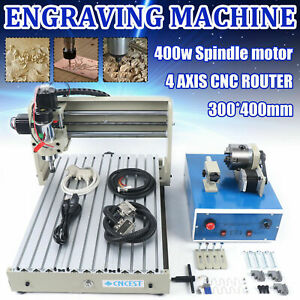 400w 3040 Cnc Router 4 Axis Engraver Cutting Machine Carving Mill Woodworking