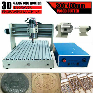 Cnc 400w 4 Axis 3040 Router Engraver Woodworking Mill Machine Cutter Handwheel