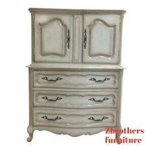 Vintage French Provincial Carved Dresser Chest On Chest Of Drawers