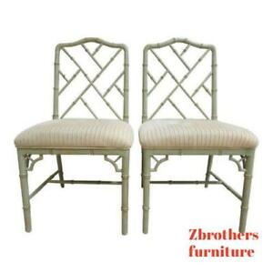Pair Domain Faux Bamboo Desk Dining Room Chairs B