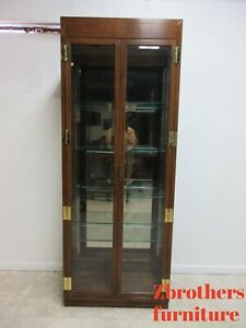 Henredon Scene One Campaign Chest Display Crystal Cabinet Hutch Curio Etagere A