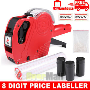 8 Digits Label Maker Machine Price Numerical Tag Gun With Sticker Labels And Ink