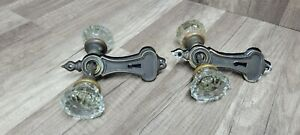 Vintage 2 Sets Of 12 Point Crystal Glass Door Knobs With Spindles