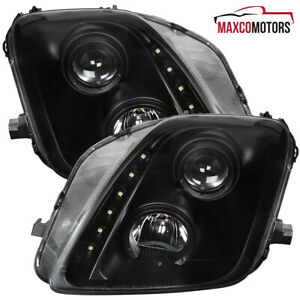 Black For 1997 2001 Honda Prelude Projector Headlights Lamps Led Strip L R Pair