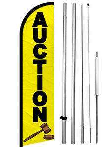 Auction Windless Swooper Feather Flag 15 Tall Pole Kit Banner Sign Yf h
