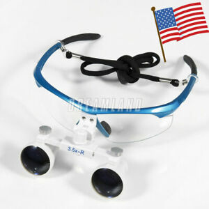 Usa Dental Surgical Loupes 3 5x 420mm Optical Glass Magnifying For Dentists Blue