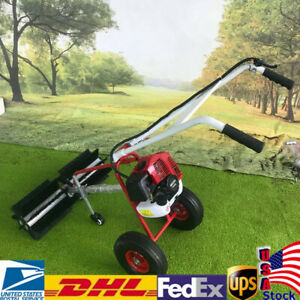 Gas Power Hand Held Sweeper Broom Cleaning Driveway Turf Grass Walk Behind New