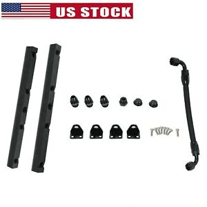 Fuel Rails W Fittings Crossover Hose For Ls1 Ls6 8an High Flow Black