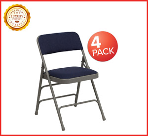 Hercules Hinged Fabric Padded Folding Chair 4 Pack Navy Blue Indoor outdoor