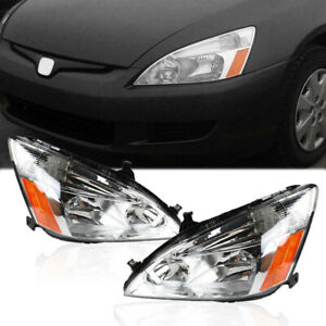 Headlights Lamps Assembly Chrome Housing Clear Lens For 2003 2007 Honda Accord
