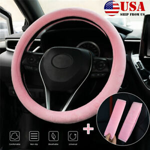 Car Steering Wheel Cover Pink Fuzzy Plush 2 Seat Belt Cover For Women Girl