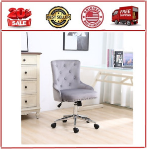 Velvet Fabric Home Office Chair With Adjustable Height