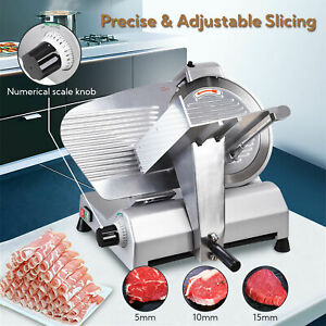 12 Blade 270w Commercial Electric Meat Slicer Deli Machine Cuts Food Veggie New