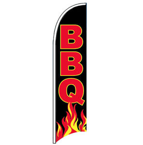 Bbq Windless Swooper Feather Flag 2 5x11 5 Ft Tall Banner Sign Kb
