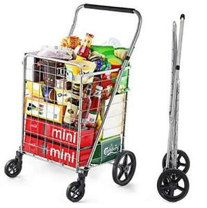 Grocery Shopping Cart With Swivel Wheels Foldable And Collapsible Utility