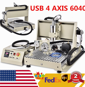 Usb 4 Axis 1500w 6040 Cnc Router Engraver Wood Metal Milling Drilling Machine rc