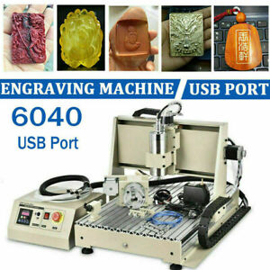 Usb 4 Axis Cnc 6040 Router Engraving Milling Carving Vfd Engraver Machine 1500w