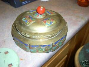 Very Old Brass Enamel Dish With Lid China