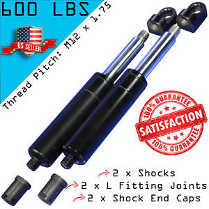 2 Bolt On Lambo Vertical Door Kit Shocks With End Caps L Fittings M12 600lbs
