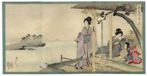 Japan Woodblock Triptych Print Geisha Enjoy Biwa Lake