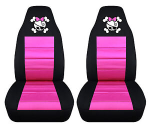 Set Of Girly Skull Front Car Seat Covers choose Your Color And Design