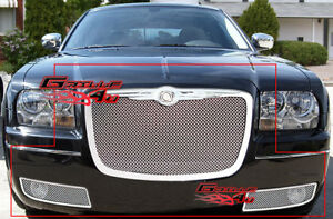 Fits 2005 2010 Chrysler 300 Stainless Steel Mesh Grille Combo