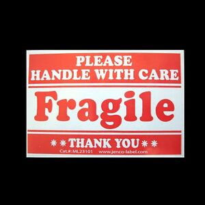 100 Fragile Stickers 2x3 Handle W care Labels Ml23101