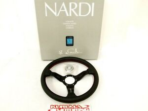 Nardi 330mm Steering Wheel Deep Corn Leather Red Stitch