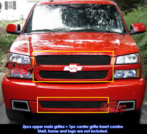 Fits 2003 2005 Chevy Silverado 1500 Ss Black Billet Grille Combo