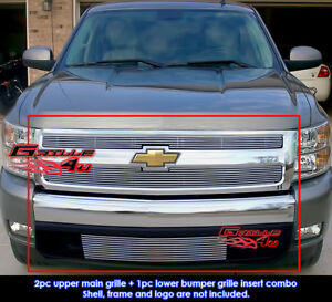Fits 2007 2011 Chevy Silverado 1500 Billet Grille Combo