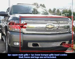 Fits 2007 2013 Chevy Silverado 1500 Stainless Steel Chrome Mesh Grille Combo