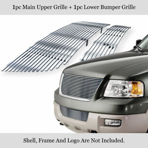 Fits 2003 2006 Ford Expedition Billet Grille Combo Upper Lower Bumper