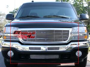 Fits 2003 2006 Gmc Sierra 1500 2500hd 3500 Polished Chrome Billet Grille Combo