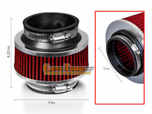 3 Inlet 76mm Cold Air Intake Universal Bypass Valve Filter Red For Chevrolet