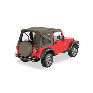 97 06 Tj Jeep Wrangler Supertop Khaki Replacement Soft Top Complete W Hardware