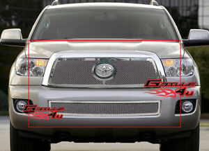 Fits 2008 2013 Toyota Sequoia Stainless Steel Mesh Grille Combo