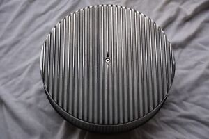 14 Raised Finned Aluminum Air Cleaner Filter Recessed Base Street Rod Muscle