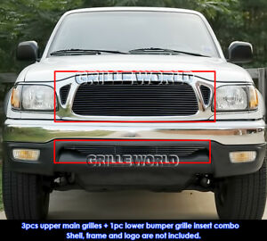 Fits 2001 2004 Toyota Tacoma Black Billet Grille Combo Insert