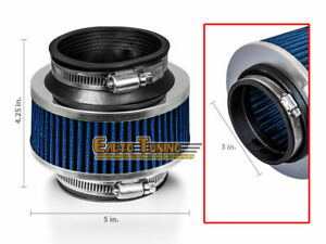 3 Inlet 76mm Cold Air Intake Universal Bypass Valve Filter Blue For Cadillac