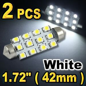 2 X White 1 72 42mm 211 2 578 12 Smd Led Bulbs For Dome Light A35